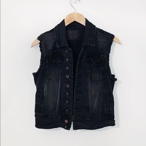 BLANKNYC Black Denim Distressed Vest